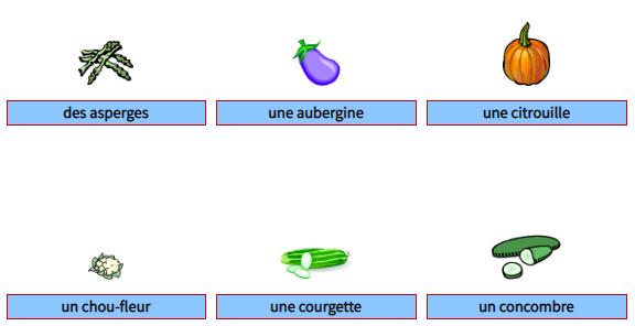 اسماء الخضروات بالفرنسية