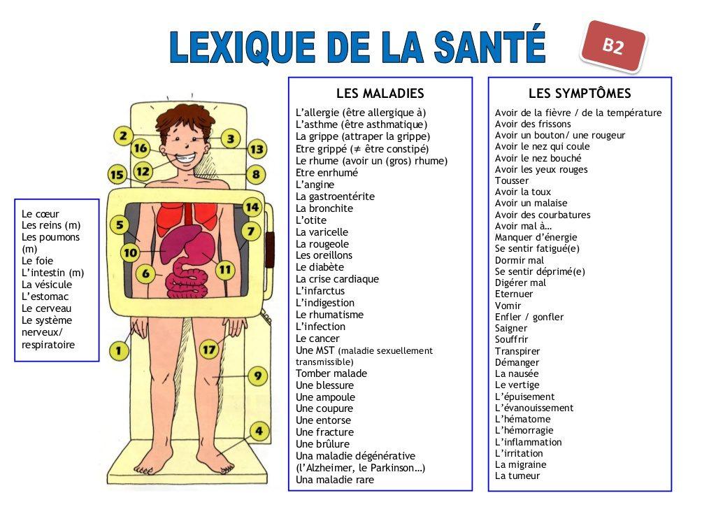lexique de la santé Les maladies et les symptômes en français